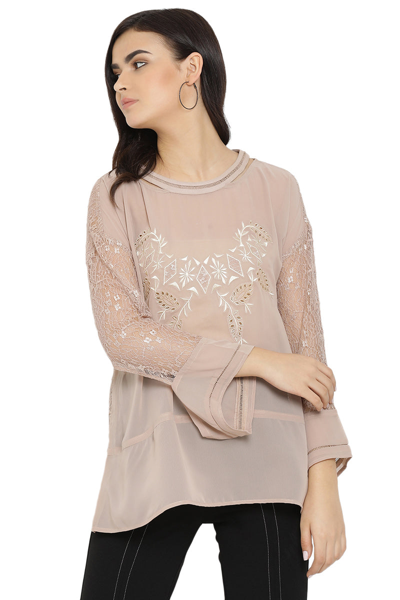 Embroidered Lace Casual Top