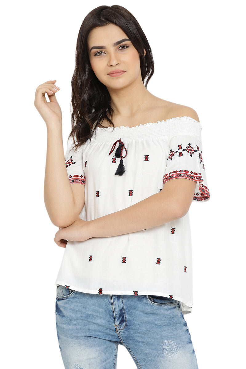 Shine Like Tassel Off Shoulder Top