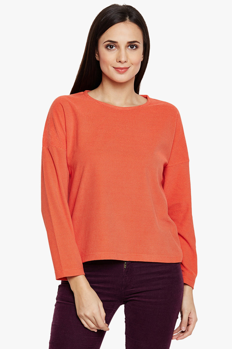 Solid Fall Shoulder Casual Top