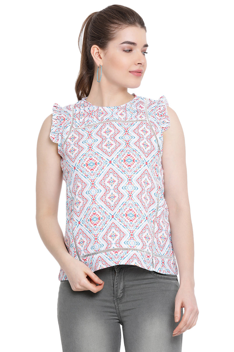 Abstract Printed Sleeveless Top
