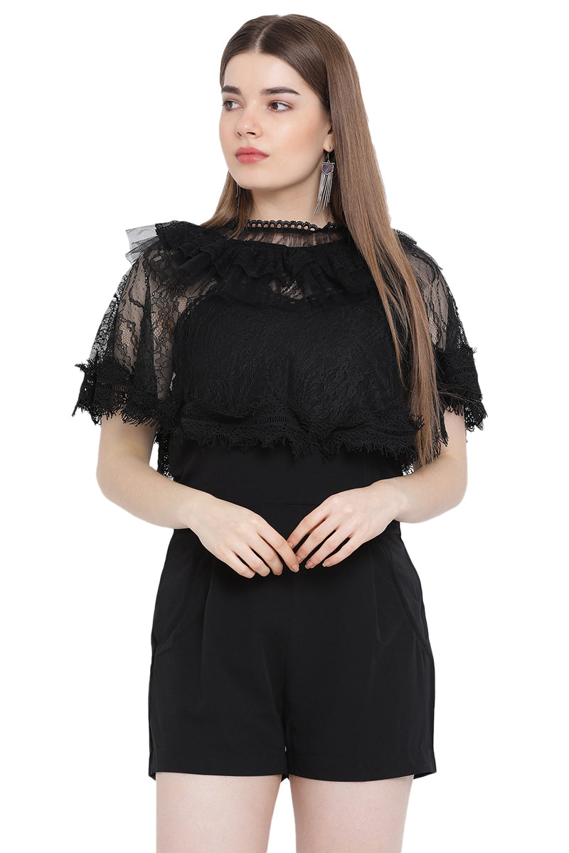 Midnight Lace Cape Play Suit