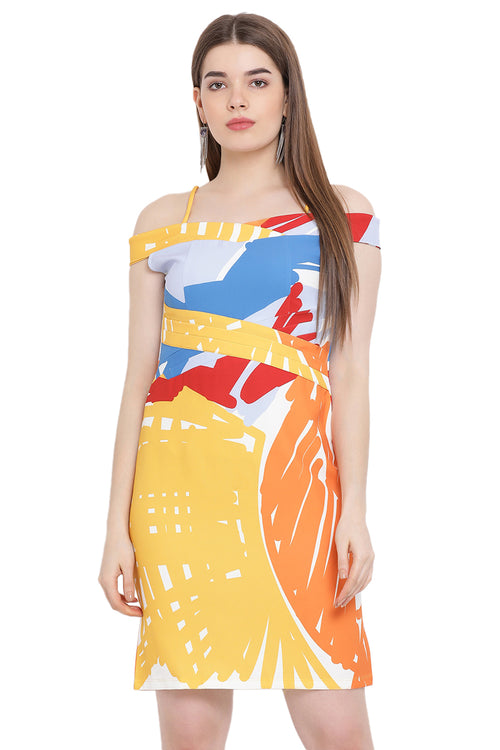 Sunshine Splash Off Shoulder Midi Dress