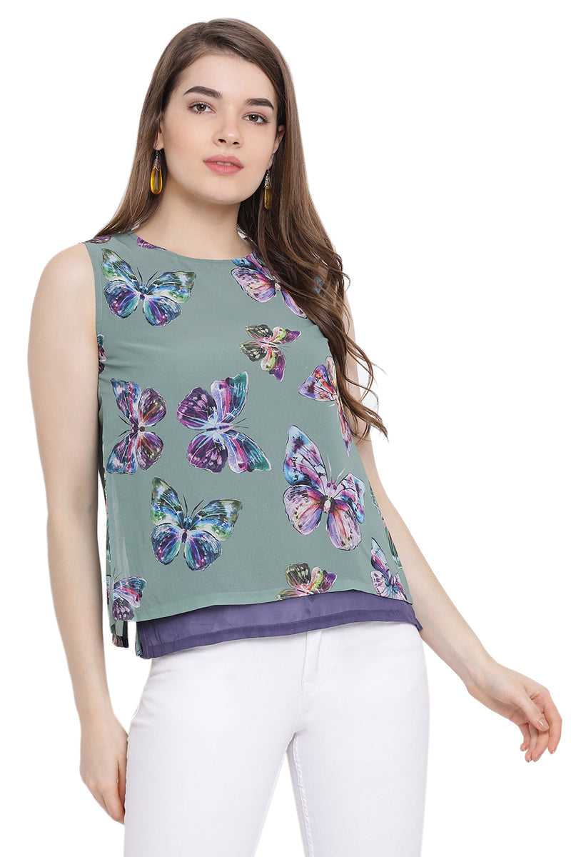 Butterfly Printed Sleeveless Top