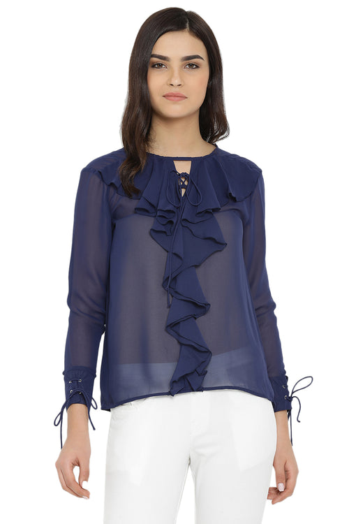 Royal Ruffle Casual Top