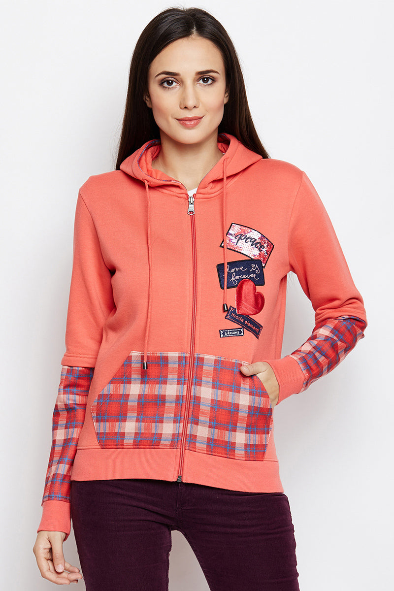 Love Patch Zipper Hood Sweatshirt