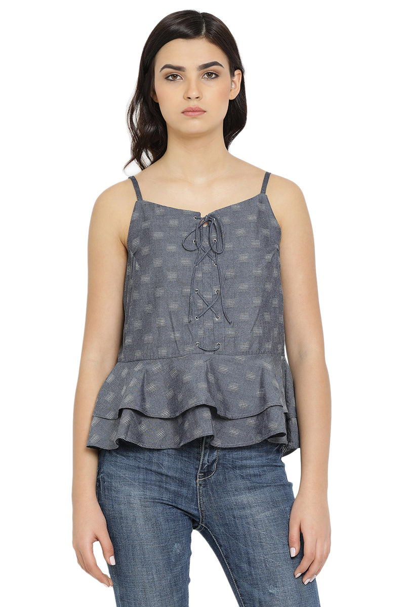 Self Designed Strap Casual Top
