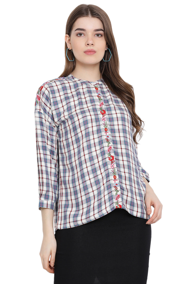 Checkered Floral Nest Casual Top