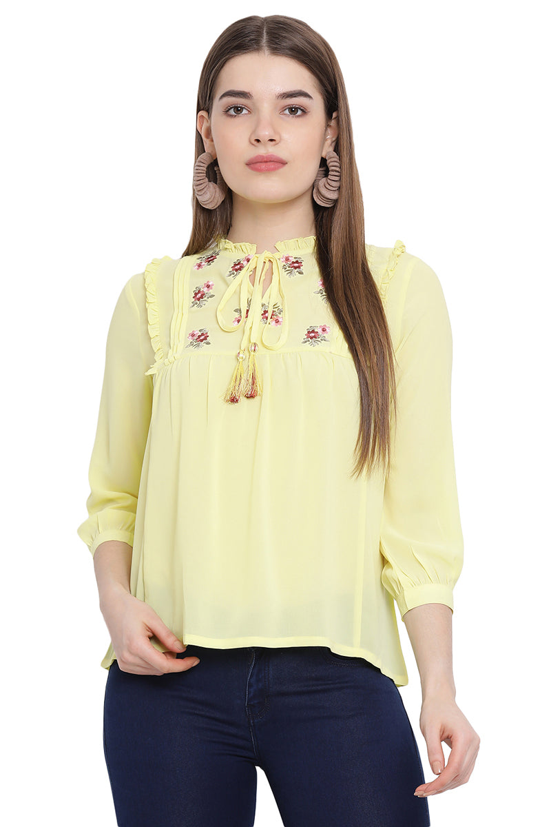 Tassel Embroidered Casual Top