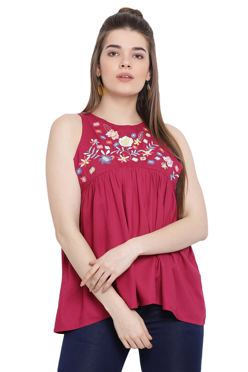 Floral Love Embroidered Sleeveless Top