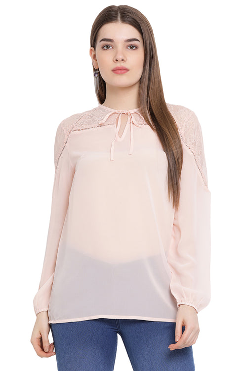 Front Tie Solid Full Sleeve Top