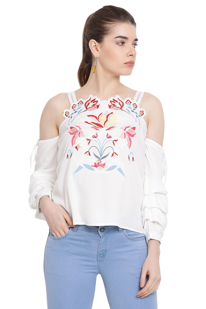 Floral Strap Off Shoulder Casual Top