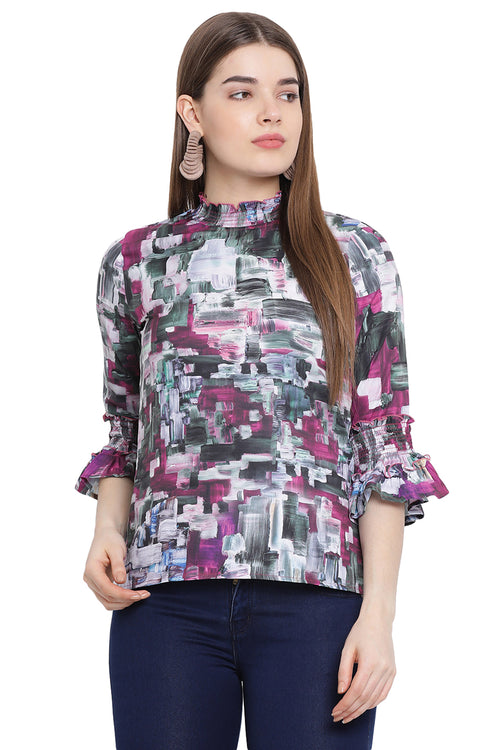 Abstract Printed Bell Sleeve Top