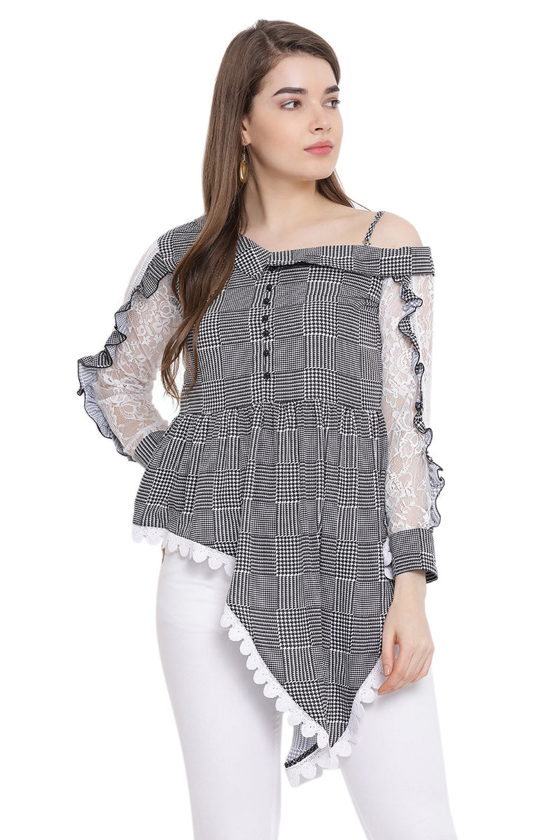 Houndstooth Single Off Shoulder Pattern Top
