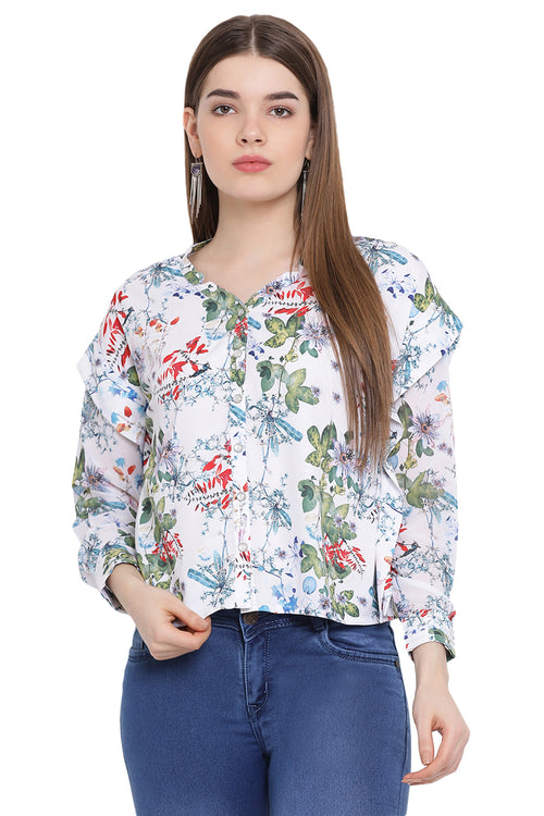 Floral Buttoned Casual Top