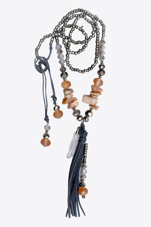 Long Boho Crystal Necklace - MODA ELEMENTI