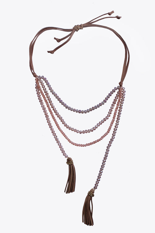 Beige Bead Long Boho Necklace - MODA ELEMENTI