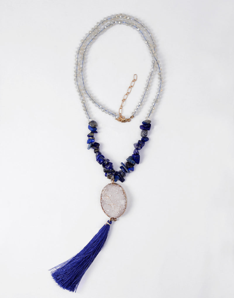 Sea Stone Blue Tribal Bead Necklace - MODA ELEMENTI