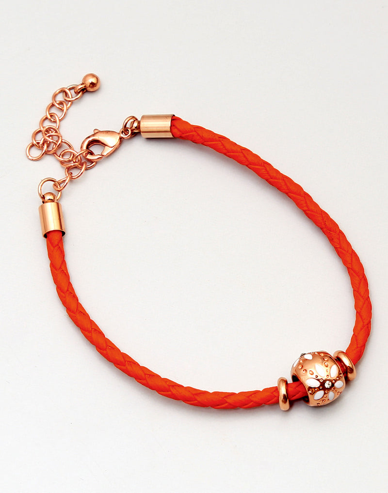Orange Leather Rose Gold Bracelet - MODA ELEMENTI