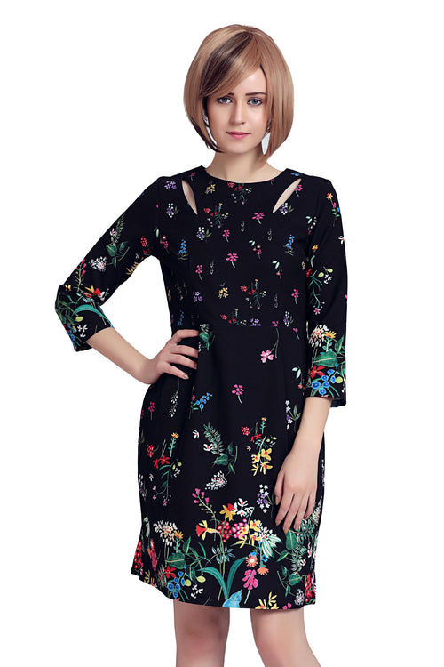 Floral Cut Out Mid Dress - MODA ELEMENTI