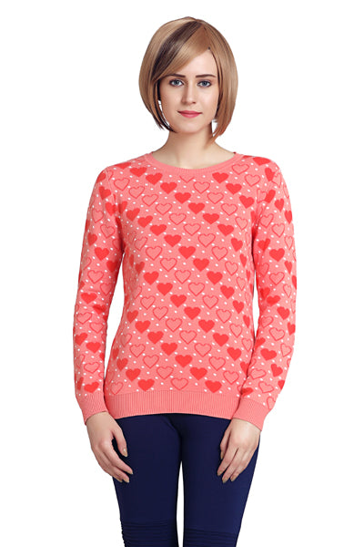 Coral Heart Crew Neck Jumper