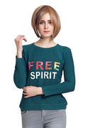 Moda Elementi  Autumn Green Colored Free Spirit Women Top - MODA ELEMENTI