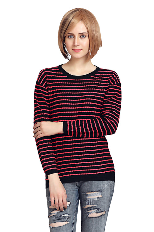Basic Striped Round Neck Pullover