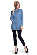 Embroidered Patches Denim Shirt - MODA ELEMENTI