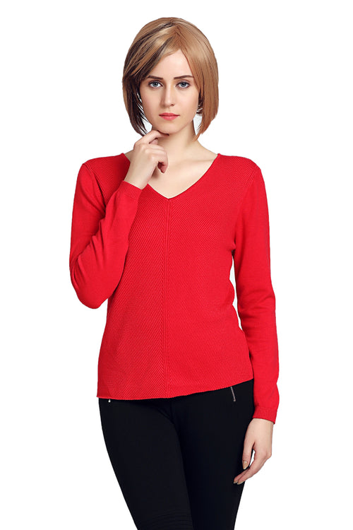 Solid V Neck Self Designed Sweater