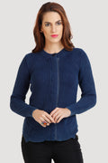 Solid Denim Front Zipper Cardigan - MODA ELEMENTI