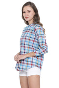 Checkered Mandarin Collar Shirt