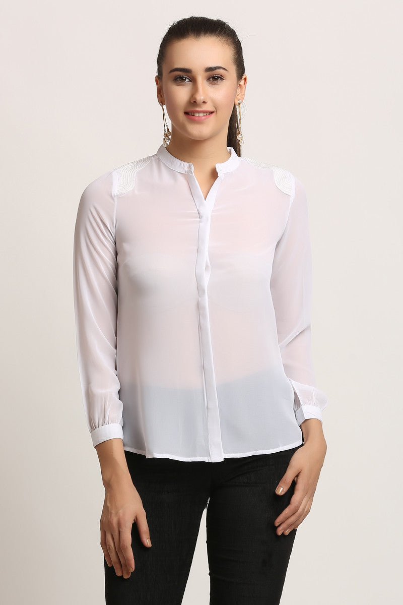 Shoulder Embellish Casual Shirt - MODA ELEMENTI
