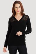 V Neck Lace Top - MODA ELEMENTI