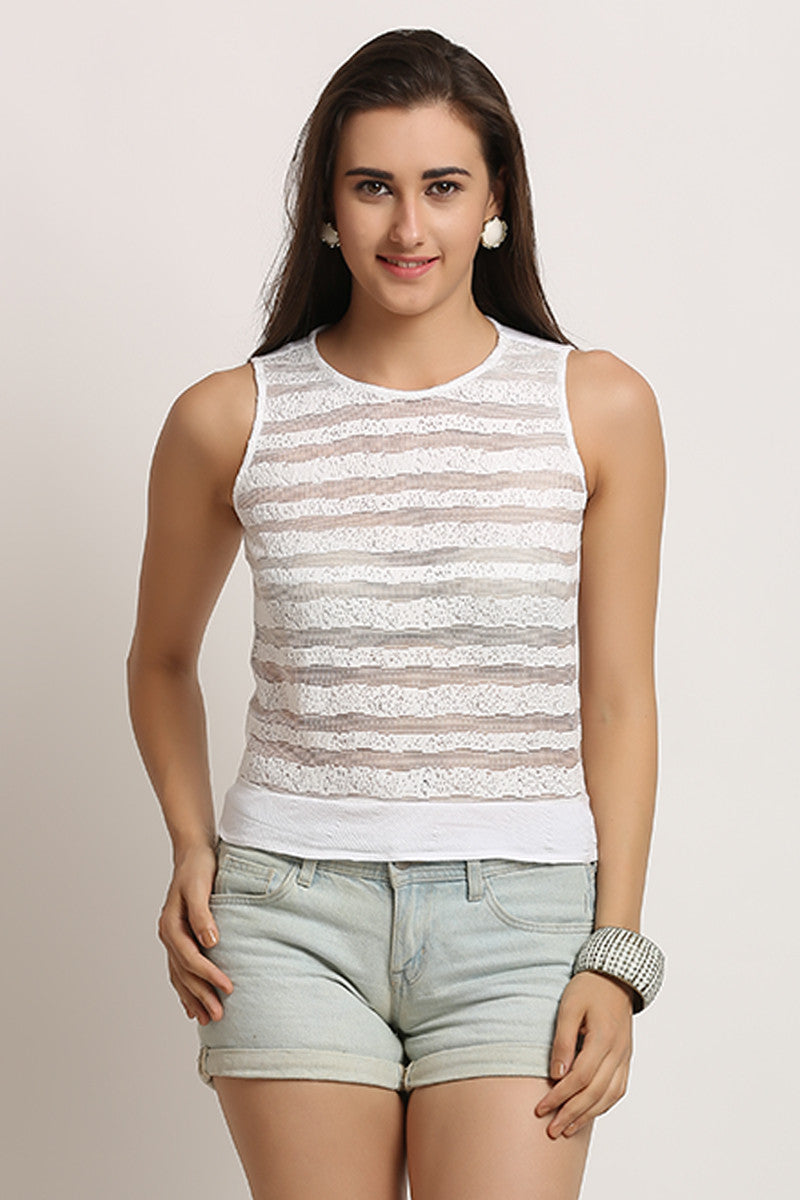 Striper Lace Crop Top - MODA ELEMENTI
