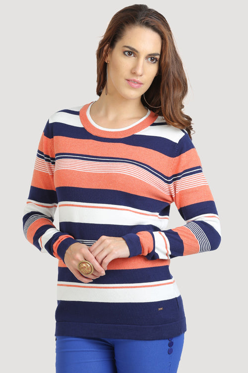 38c215f32824b3 Round Neck Coral Blue Striped Jumper - MODA ELEMENTI