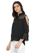 Solid Black Lace Casual Top