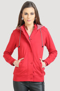 Full Sleeve Front Zipper Buttoned Hooded Sweatshirt - MODA ELEMENTI