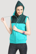 Front Zipper Sleeveless Hooded Sweatshirt - MODA ELEMENTI
