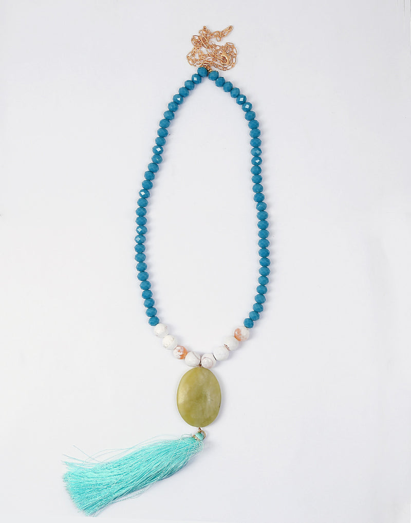 Sea Green Bead Tribal Necklace - MODA ELEMENTI