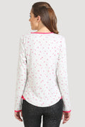 V Neck Placket Full Sleeve Rib Top - MODA ELEMENTI