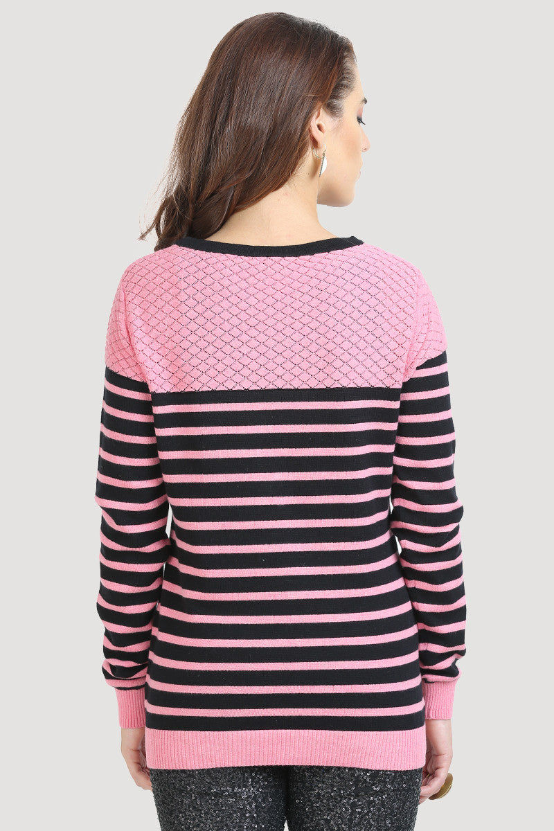 c93bcae9140ed1 ... Pink black Striped Jumper - MODA ELEMENTI ...