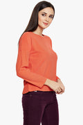 Solid Fall Shoulder Casual Top - MODA ELEMENTI