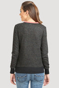 Round Neck Full Sleeve Rose Sweatshirt - MODA ELEMENTI