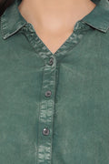 Olive Denim Casual Winter Shirt