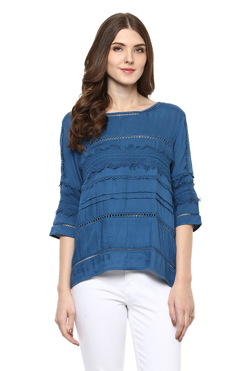 Self Designed Lace Casual Top - MODA ELEMENTI