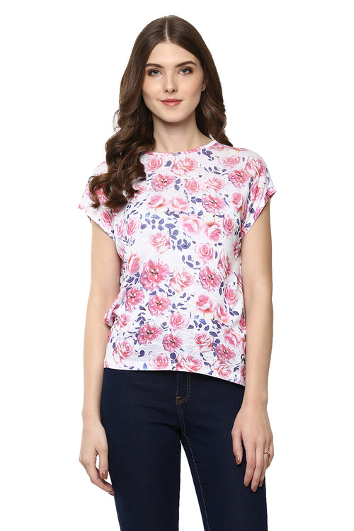 Floral Round Neck Short Sleeve Casual Top - MODA ELEMENTI
