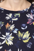 Floral Printed Round Neck Casual Top - MODA ELEMENTI