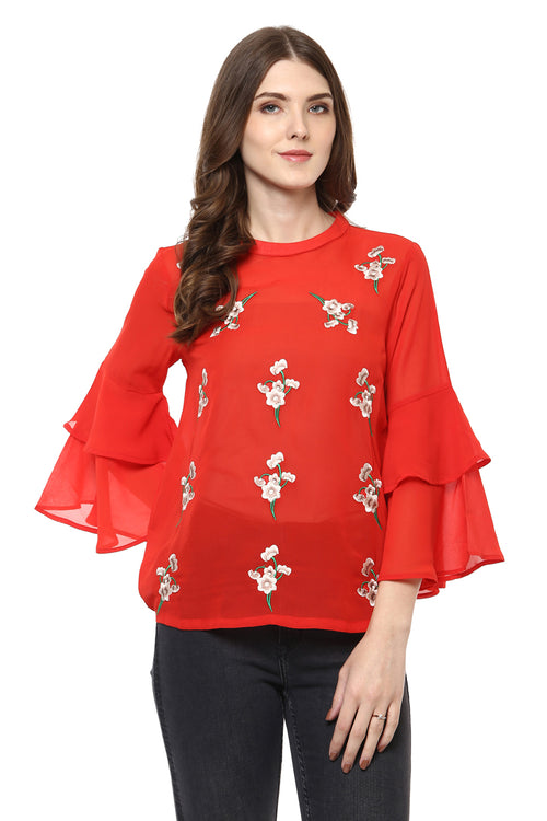 Floral Embroidery Bell Sleeve Top - MODA ELEMENTI