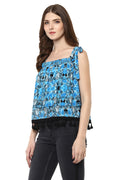 Strap Off Shoulder Printed Casual Top