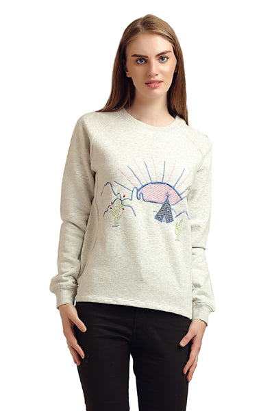 Front Embroidered Round neck Full Sleeve Winter Top - MODA ELEMENTI