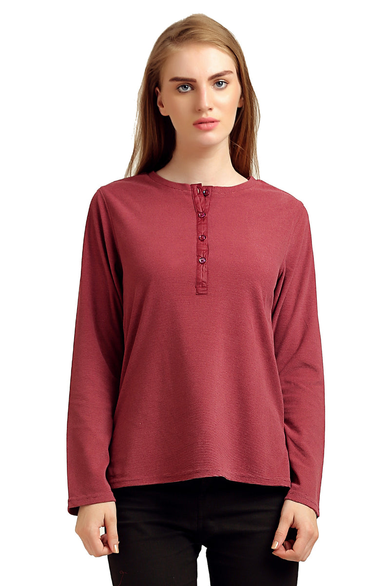 Solid Front Buttoned Top - MODA ELEMENTI